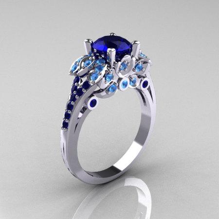 Classic 14K White Gold 1.0 CT Blue Sapphire Blue Topaz Blazer Wedding Ring R203-14KWGBTBS-1