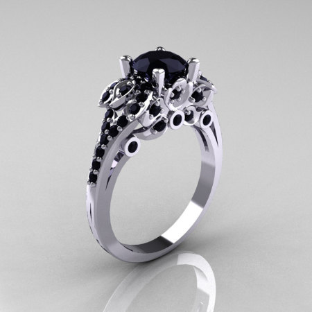 Classic 10K White Gold 1.0 CT Black Diamond Solitaire Wedding Ring R203-10KWGBD-1