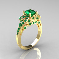 Classic 14K Yellow Gold 1.0 CT Emerald Solitaire Wedding Ring R203-14KYGEM-1