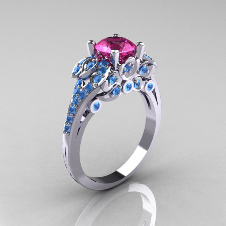 Classic 10K White Gold 1.0 CT Pink Sapphire Blue Topaz Solitaire Wedding Ring R203-10KWGBTPS-1