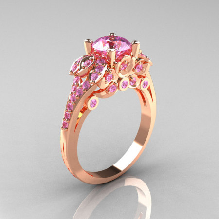 Classic 14K White Gold 1.0 CT Light Pink Sapphire Solitaire Wedding Ring R203-14KWGLPS-1