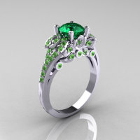 Classic 14K White Gold 1.0 CT Emerald Peridot Blazer Wedding Ring R203-14KWGPEM-1