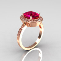 Classic 14K Rose Gold 3.0 CT Oval Rhodolite Raspberry Red Garnet 0.45 CTW Diamond Ring R72-RGDRG-1