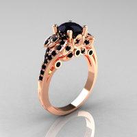 Classic 14K Rose Gold 1.0 CT Black Diamond Solitaire Wedding Ring R203-14KRGBD-1