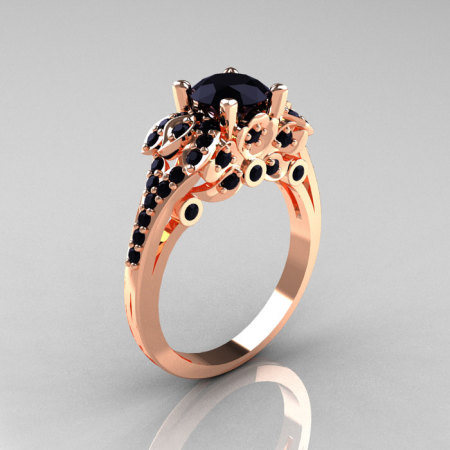 Classic 14K Rose Gold 1.0 CT Black Diamond Solitaire Wedding Ring R203-14KRGBD-1