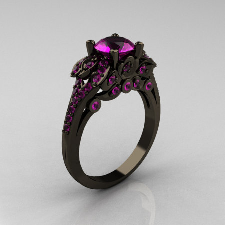Classic 14K Black Gold 1.0 CT Amethyst Blazer Wedding Ring R203-14KBGAM-1