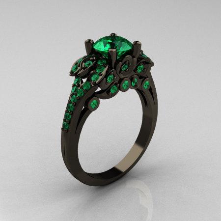 Classic 14K Black Gold 1.0 CT Emerald Blazer Wedding Ring R203-14KBGEM-1