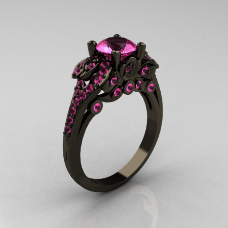Classic 14K Black Gold 1.0 CT Pink Sapphire Blazer Wedding Ring R203-14KBGPS-1