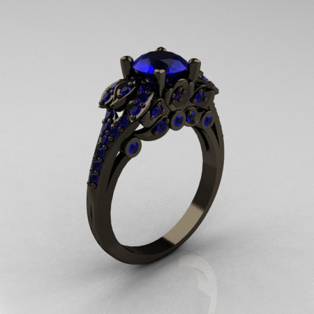 Classic 14K Black Gold 1.0 CT Blue Sapphire Blazer Wedding Ring R203-14KBGBS-1
