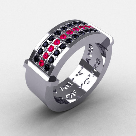 Gentlemens Modern 14K White Gold Ruby Black Diamond Ring MR184-14KWGRBD-1