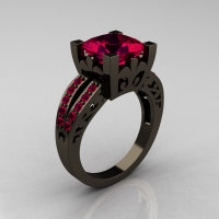 French Vintage 14K Black Gold 3.8 Carat Princess Ruby Solitaire Ring R222-BGR-1