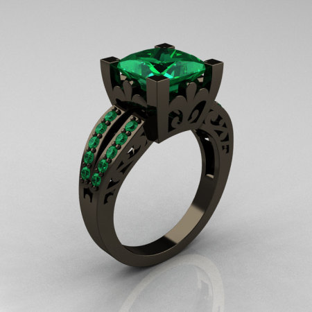 French Vintage 14K Black Gold 3.8 Carat Princess Emerald Solitaire Ring R222-BGEM-1