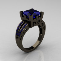 French Vintage 14K Black Gold 3.8 Carat Princess Blue Sapphire Solitaire Ring R222-BGBS-1