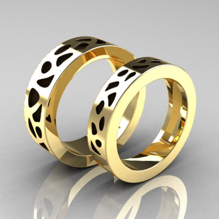 Designer Exclusive Modern 10K Yellow Gold Leopard Wedding Band Set R210S-10KYGL-1