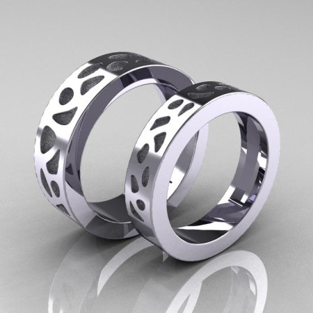 Designer Exclusive Modern 10K White Gold Snow Leopard Wedding Band Set R210S-10KWGSL-1