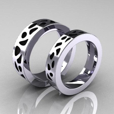 Designer Exclusive Modern 950 Platinum Snow Leopard Wedding Band Set R210S-PLATSL-1