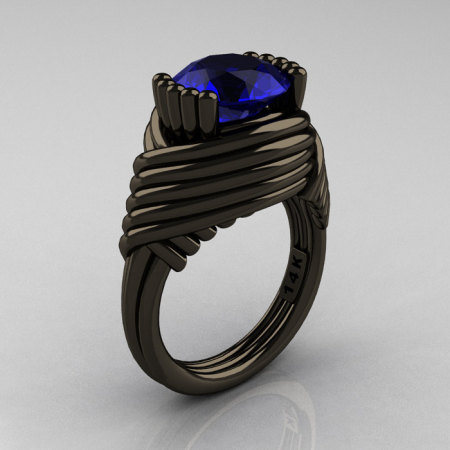 Modern Antique 14K Black Gold 3.0 Carat Blue Sapphire Wedding Ring R211-14KBGBS-1