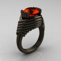 Modern Antique 14K Black Gold 3.0 Carat Padparadscha CZ Wedding Ring R211-14KBGP-1