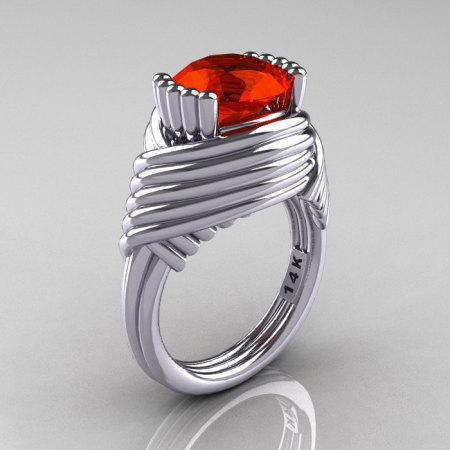 Modern Antique 14K White Gold 3.0 Carat Padparadscha CZ Wedding Ring R211-14KWGP-1