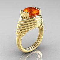 Modern Antique 14K Yellow Gold 3.0 Carat Orange Sapphire Wedding Ring R211-14KYOS-1