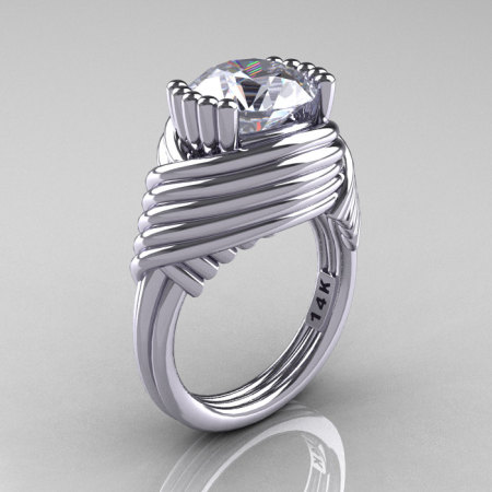 Modern Antique 14K White Gold 3.0 Carat Cubic Zirconia Wedding Ring R211-14KWGCZ-1