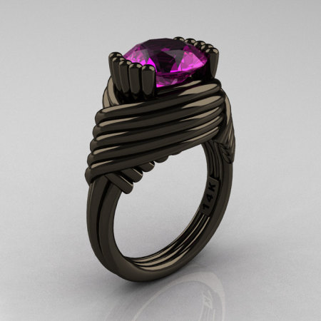 Modern Antique 14K Black Gold 3.0 Carat Amethyst Wedding Ring R211-14KBGAM-1