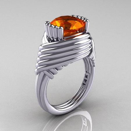Modern Antique 14K White Gold 3.0 Carat Orange Sapphire Wedding Ring R211-14KWGOS-1