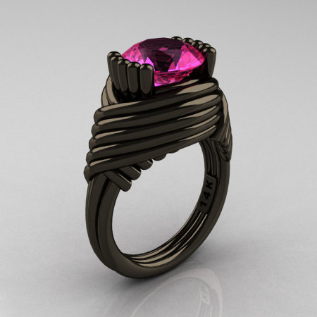 Modern Antique 14K Black Gold 3.0 Carat Pink Sapphire Wedding Ring R211-14KBGPS-1