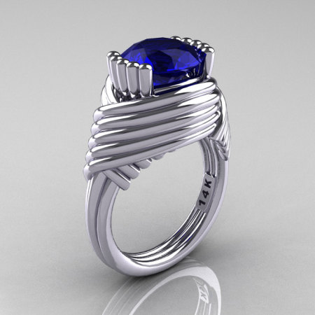 Modern Antique 14K White Gold 3.0 Carat Blue Sapphire Wedding Ring R211-14KWGBS-1