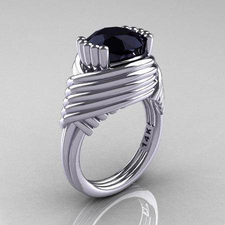 Modern Antique 14K White Gold 3.0 Carat Black Diamond Wedding Ring R211-14KWGBD-1