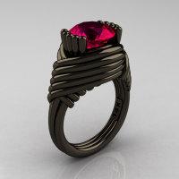 Modern Antique 14K Black Gold 3.0 Carat Ruby Wedding Ring R211-14KBGR-1