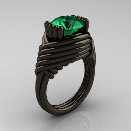 Modern Antique 14K Black Gold 3.0 Carat Emerald Wedding Ring R211-14KBGEM-1