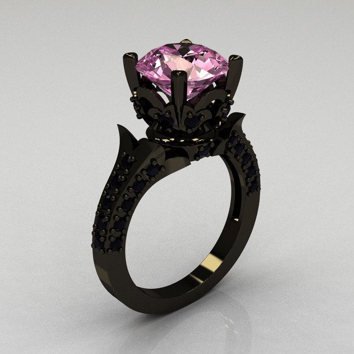 Classic French 14K Black Gold 3 0 Carat Light Pink Sapphire Black Diamond Sol