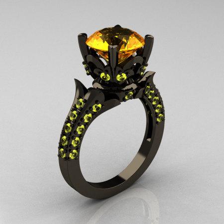 Classic French 14K Black Gold 3.0 Carat Citrine Yellow Topaz Solitaire Wedding Ring R401-14KBGYTC-1