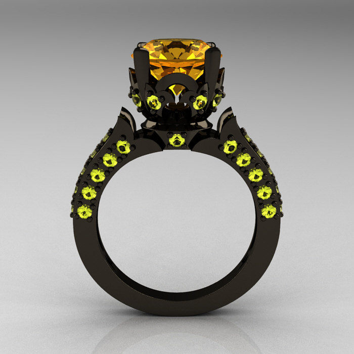 Classic French 14k Black Gold 3 0 Carat Citrine Yellow