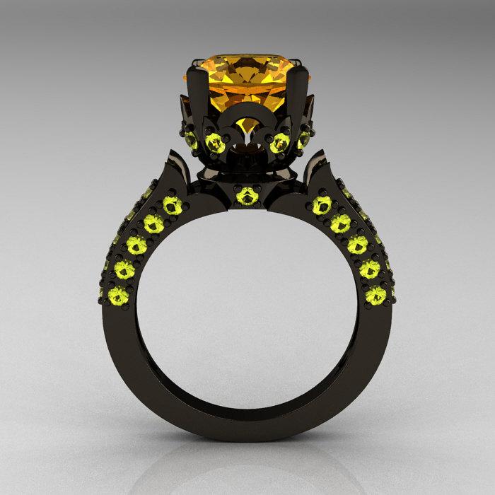 Classic French 14K Black Gold 3.0 Carat Citrine Yellow Topaz Solitaire Wedding  Ring R401 14KBGYTC ...