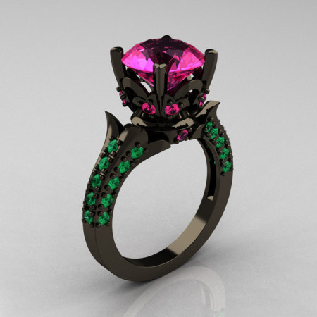 Classic French 14K Black Gold 3.0 Carat Pink Sapphire Emerald Solitaire Wedding Ring R401-14KBGEPS-1