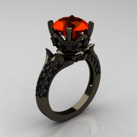 Classic French 14K Black Gold 3.0 Carat Padparadscha Black Diamond Solitaire Wedding Ring R401-14KBGBDP-1