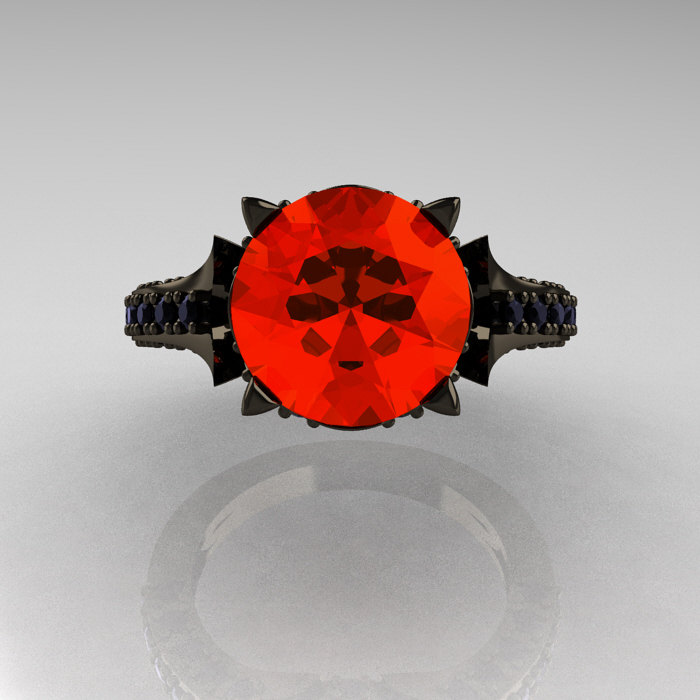Classic French 14k Black Gold 3 0 Carat Padparadscha Black
