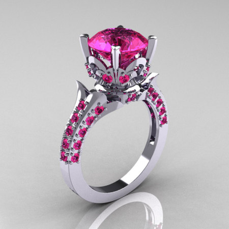 Classic French 10K White Gold 3.0 Carat Pink Sapphire Solitaire Wedding Ring R401-10KWGPS-1