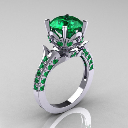 Classic French 10K White Gold 3.0 Carat Emerald Solitaire Wedding Ring R401-10KWGEM-1