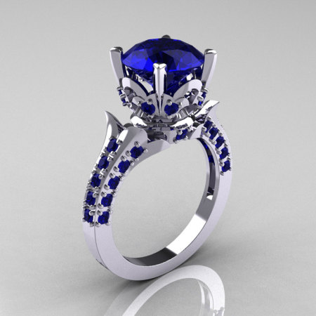 Classic French 10K White Gold 3.0 Carat Blue Sapphire Solitaire Wedding Ring R401-10KWGBS-1