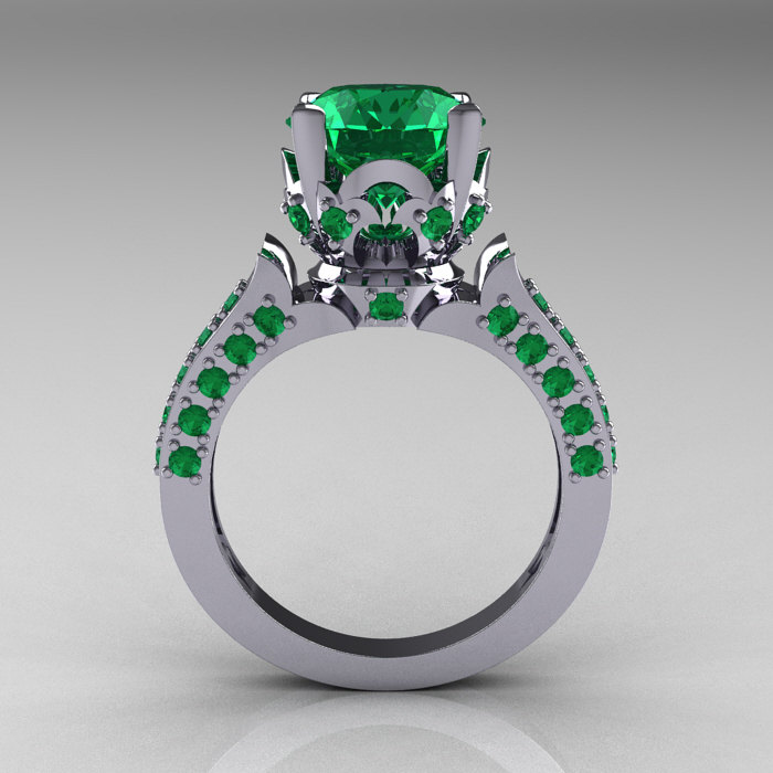 Classic French 10k White Gold 3 0 Carat Emerald Solitaire