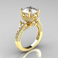 Classic French 14K Yellow Gold 3.0 Carat Simulation Diamond CZ Solitaire Wedding Ring R401-14KYGSDCZ-1