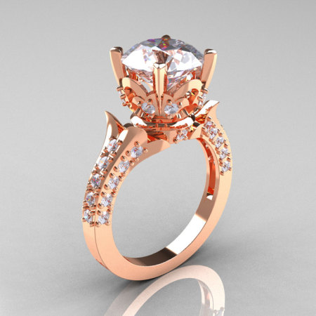 Classic French 14K Rose Gold 3.0 Carat Simulation Diamond CZ Solitaire Wedding Ring R401-14KRGSDCZ-1