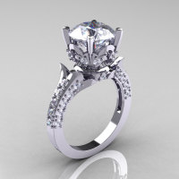 Classic French 950 Platinum Gold 3.0 Carat Simulation and Natural Diamond Solitaire Wedding Ring R401-PLATDSD-1