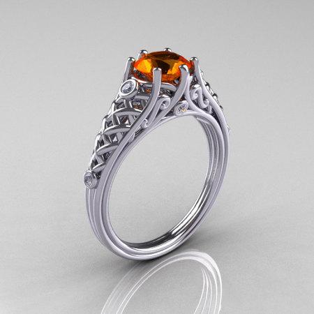 Classic French 14K White Gold 1.0 Carat Orange Sapphire Diamond Lace Ring R175-14WGDOS-1