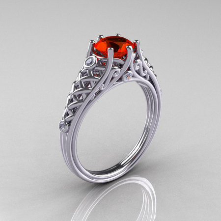 Classic French 14K White Gold 1.0 Carat Padparadscha CZ Diamond Lace Ring R175-14WGDPCZ-1