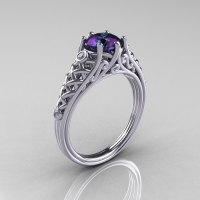 Classic French 18K White Gold 1.0 Carat Alexandrite Diamond Lace Ring R175-18WGDAL-1