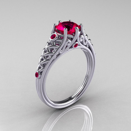 Classic French 10K White Gold 1.0 Carat Ruby Lace Ring R175-10WGR-1